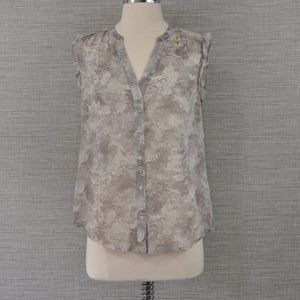 Joie Grey Floral Silk Top - S